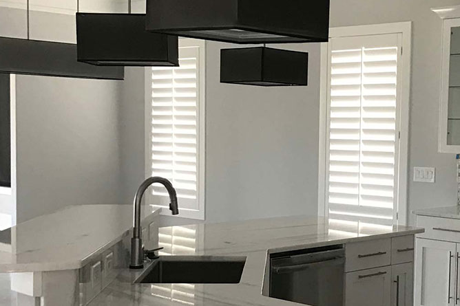 LouverWood Shutters in a kitchen