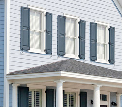 Classic blue exterior shutters